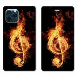 """RV Housse cuir portefeuille Iphone 11 (5,8"""") Musique clé sol feu N"""