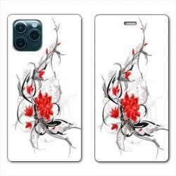 """RV Housse cuir portefeuille Iphone 11 (5,8"""") fleur épine"""