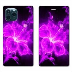 "RV Housse cuir portefeuille Iphone 11 (5,8"") fleur hibiscus violet"
