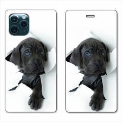 """RV Housse cuir portefeuille Iphone 11 (5,8"""") Chien noir"""