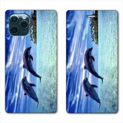 """RV Housse cuir portefeuille Iphone 11 (5,8"""") Dauphin ile"""