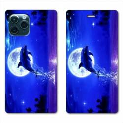 """RV Housse cuir portefeuille Iphone 11 (5,8"""") Dauphin lune"""