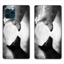 """RV Housse cuir portefeuille Iphone 11 (5,8"""") Loup Duo"""