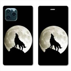 """RV Housse cuir portefeuille Iphone 11 (5,8"""") Loup Noir"""