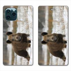 """RV Housse cuir portefeuille Iphone 11 (5,8"""") chasse sanglier Neige"""