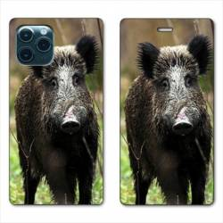 """RV Housse cuir portefeuille Iphone 11 (5,8"""") chasse sanglier bois"""