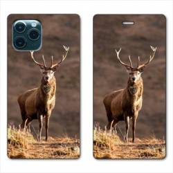 """RV Housse cuir portefeuille Iphone 11 (5,8"""") chasse chevreuil Blanc"""