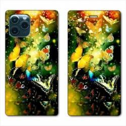 """RV Housse cuir portefeuille Iphone 11 (5,8"""") papillons papillon jaune"""