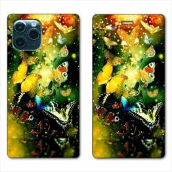 "RV Housse cuir portefeuille Iphone 11 (5,8"") papillons papillon jaune"