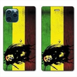"RV Housse cuir portefeuille Iphone 11 (5,8"") Bob Marley Drapeau"