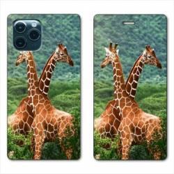 "RV Housse cuir portefeuille Iphone 11 (5,8"") savane Girafe Duo"