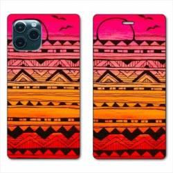 "RV Housse cuir portefeuille Iphone 11 (5,8"") motifs Aztec azteque soleil"