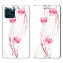 """RV Housse cuir portefeuille Iphone 11 (5,8"""") Cœur rose Montant"""
