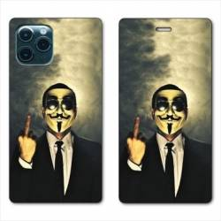 """RV Housse cuir portefeuille Iphone 11 (5,8"""") Anonymous doigt"""