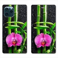 """RV Housse cuir portefeuille Iphone 11 (5,8"""") orchidee bambou"""