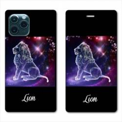 """RV Housse cuir portefeuille Iphone 11 (5,8"""") signe zodiaque Lion2"""