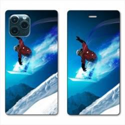"RV Housse cuir portefeuille Iphone 11 (5,8"") Snowboard saut"