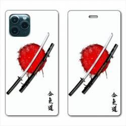 """RV Housse cuir portefeuille Iphone 11 (5,8"""") Japon épée"""