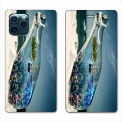 """RV Housse cuir portefeuille Iphone 11 (5,8"""") Mer Bouteille"""