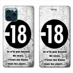 """RV Housse cuir portefeuille Iphone 11 (5,8"""") Humour 18 ans"""