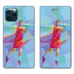 "RV Housse cuir portefeuille Iphone 11 (5,8"") Tennis Revers Bleu"