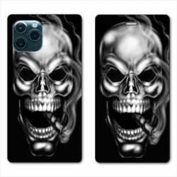 """RV Housse cuir portefeuille Iphone 11 Pro (6,1"""") tete de mort Fume"""