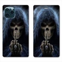 """RV Housse cuir portefeuille Iphone 11 Pro (6,1"""") tete de mort Doigt"""