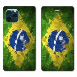 """RV Housse cuir portefeuille Iphone 11 Pro (6,1"""") Bresil texture"""