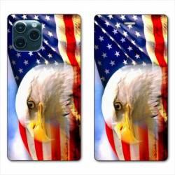 """RV Housse cuir portefeuille Iphone 11 Pro (6,1"""") Amerique USA Aigle"""