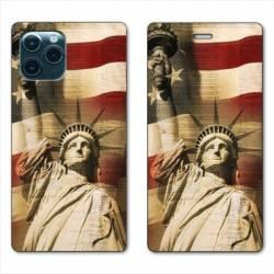 """RV Housse cuir portefeuille Iphone 11 Pro (6,1"""") Amerique USA Statue liberté"""