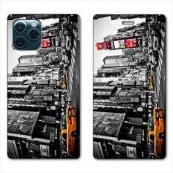 """RV Housse cuir portefeuille Iphone 11 Pro (6,1"""") Amerique USA New York Taxi"""