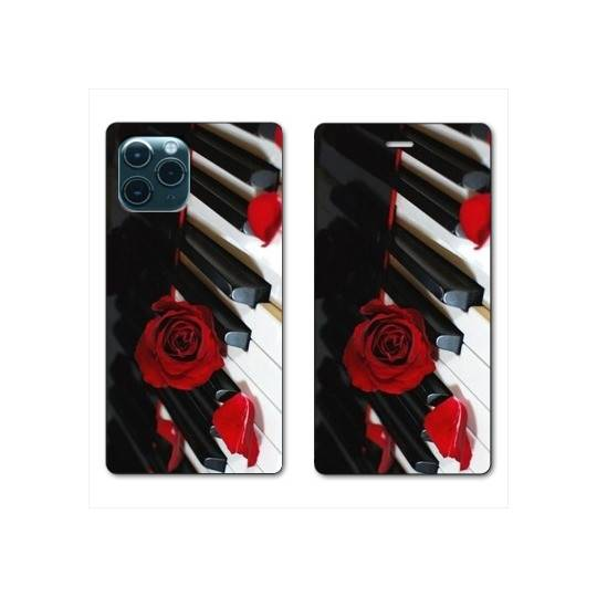 """RV Housse cuir portefeuille Iphone 11 Pro (5,8"""") Musique Rose Piano"""