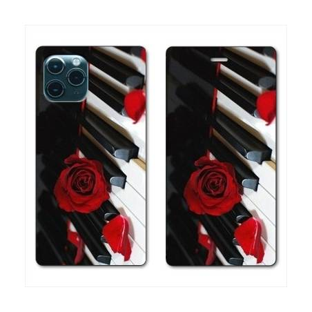 """RV Housse cuir portefeuille Iphone 11 Pro (6,1"""") Musique Rose Piano"""