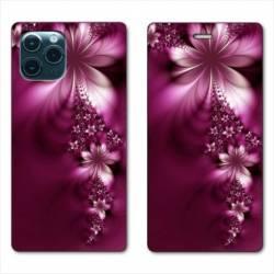 """RV Housse cuir portefeuille Iphone 11 Pro (6,1"""") fleur violette montante"""