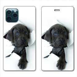 """RV Housse cuir portefeuille Iphone 11 Pro (6,1"""") Chien noir"""