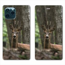 """RV Housse cuir portefeuille Iphone 11 Pro (6,1"""") chasse chevreuil Bois"""