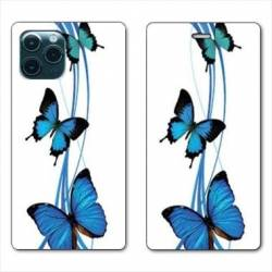 "RV Housse cuir portefeuille Iphone 11 Pro (6,1"") papillons bleu"