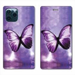 """RV Housse cuir portefeuille Iphone 11 Pro (6,1"""") papillons violet et blanc"""