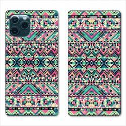 """RV Housse cuir portefeuille Iphone 11 Pro (6,1"""") motifs Aztec azteque rose"""