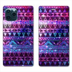 """RV Housse cuir portefeuille Iphone 11 Pro (6,1"""") motifs Aztec azteque violet"""