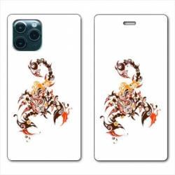 "RV Housse cuir portefeuille Iphone 11 Pro (6,1"") scorpion"