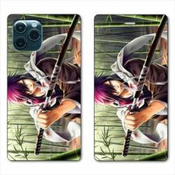 """RV Housse cuir portefeuille Iphone 11 Pro (6,1"""") Manga bambou"""