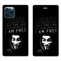 """RV Housse cuir portefeuille Iphone 11 Pro (6,1"""") Anonymous I am free"""