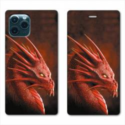 """RV Housse cuir portefeuille Iphone 11 Pro (6,1"""") Dragon Rouge"""