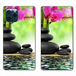"RV Housse cuir portefeuille Iphone 11 Pro (6,1"") orchidee eau"