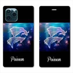 """RV Housse cuir portefeuille Iphone 11 Pro (6,1"""") signe zodiaque Poisson2"""