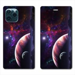 """RV Housse cuir portefeuille Iphone 11 Pro (6,1"""") Planete rouge"""