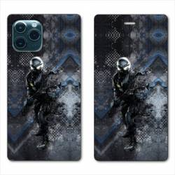 "RV Housse cuir portefeuille Iphone 11 Pro (6,1"") police swat"