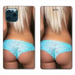 "RV Housse cuir portefeuille Iphone 11 Pro (6,1"") Sexy tanga bleu"