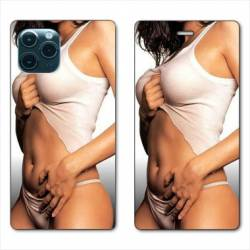 """RV Housse cuir portefeuille Iphone 11 Pro (6,1"""") Sexy tee shirt blanc"""